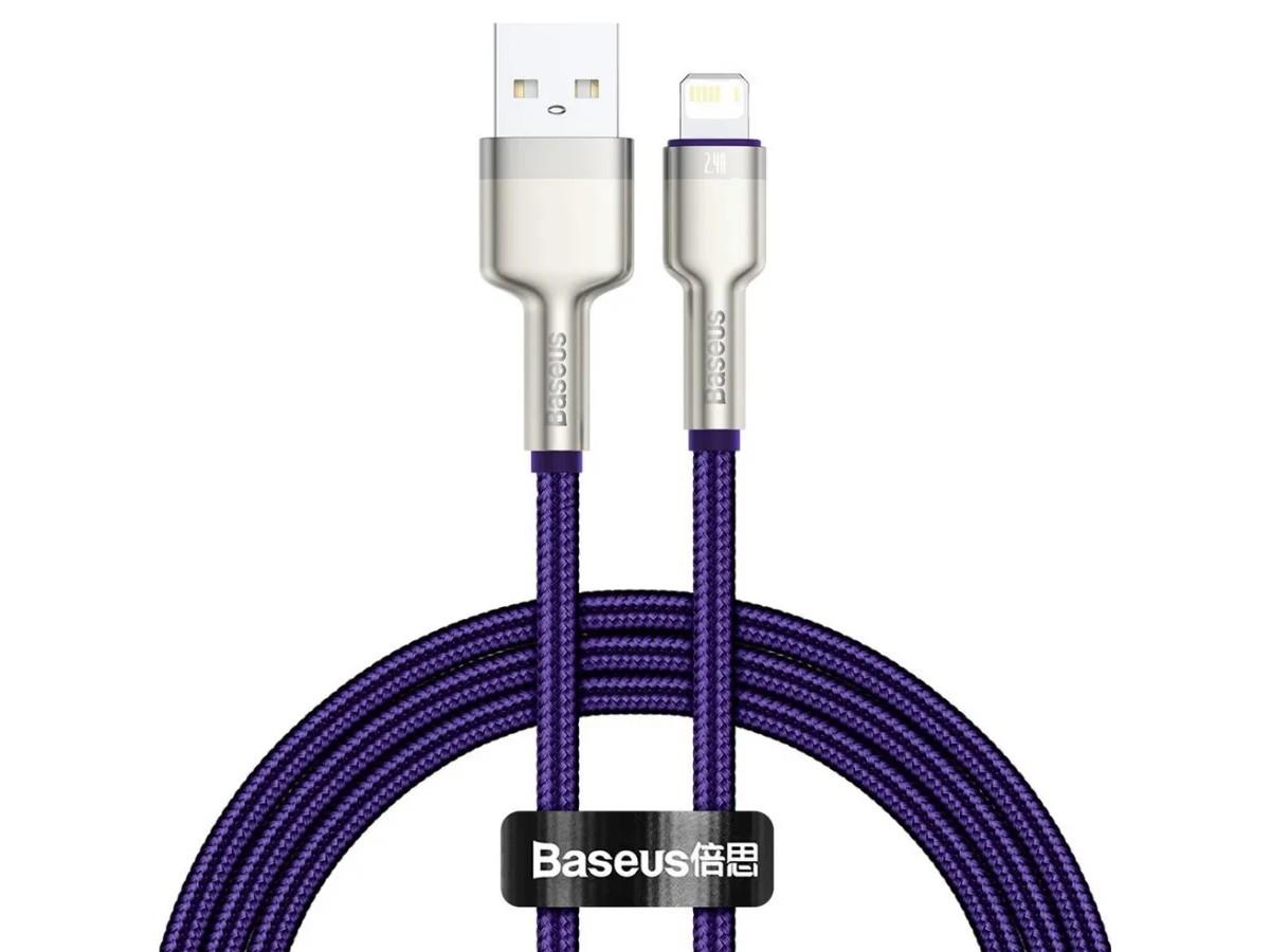 Кабель зарядки Lightning Baseus Metal Data Cable 1m в оплетке фиолетовый в Тюмени