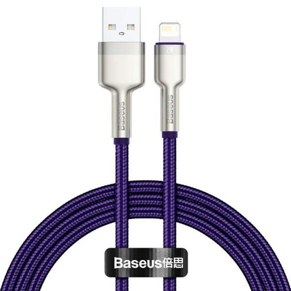 Кабель зарядки Lightning Baseus Metal Data Cable 1m в оплетке фиолетовый