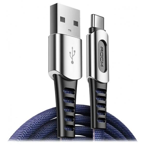 Кабель зарядки Type-C Rock M8 в усиленной оплётке 1m синий