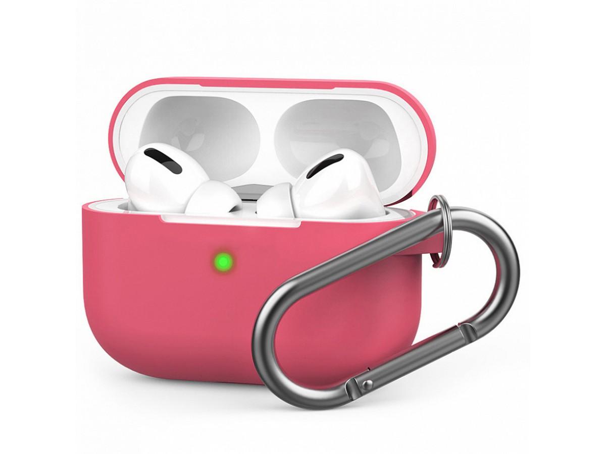 Чехол для AirPods Pro c карабином розовый в Тюмени