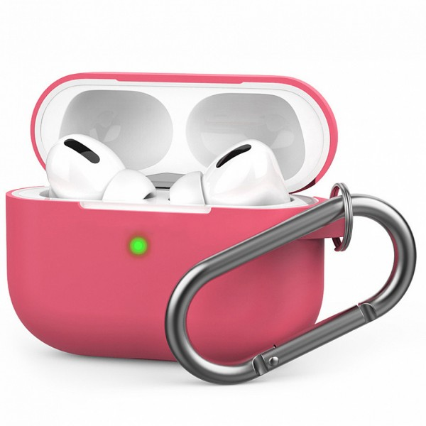 Чехол для AirPods Pro c карабином розовый