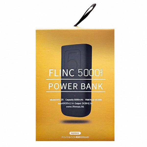 Power bank Remax 5000mAh Flinc RPL-25 (черный/голубой)