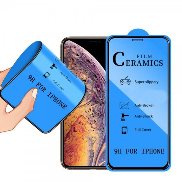Стекло защитное iPhone 7/8/SE 2020 черное (Ceramics)