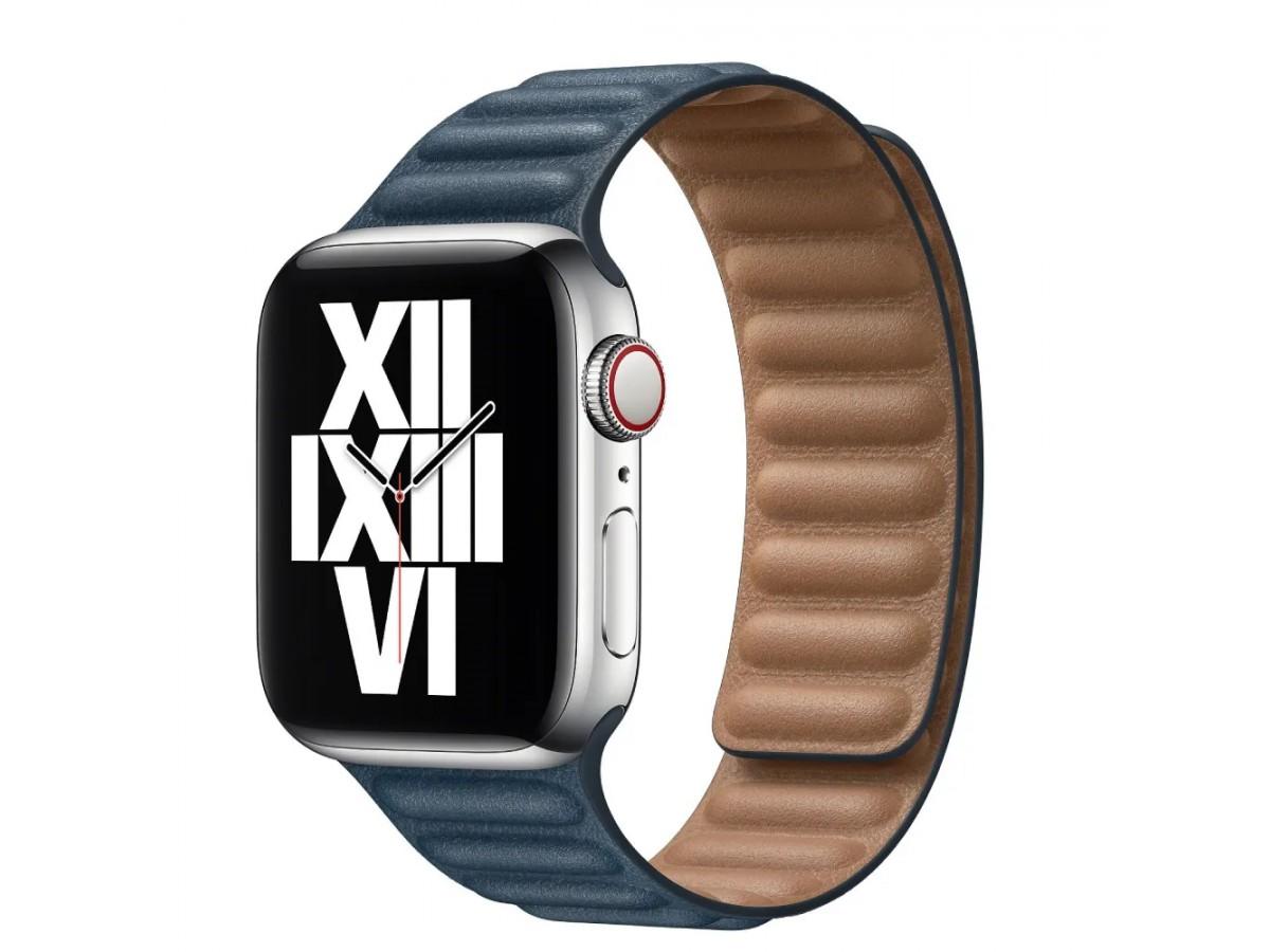 Ремешок кожаный New Apple Watch 42/44 мм на магнитной застежке темно-синий в Тюмени