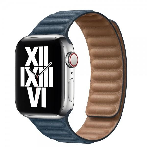 Ремешок кожаный New Apple Watch 42/44 мм на магнитной застежке темно-синий