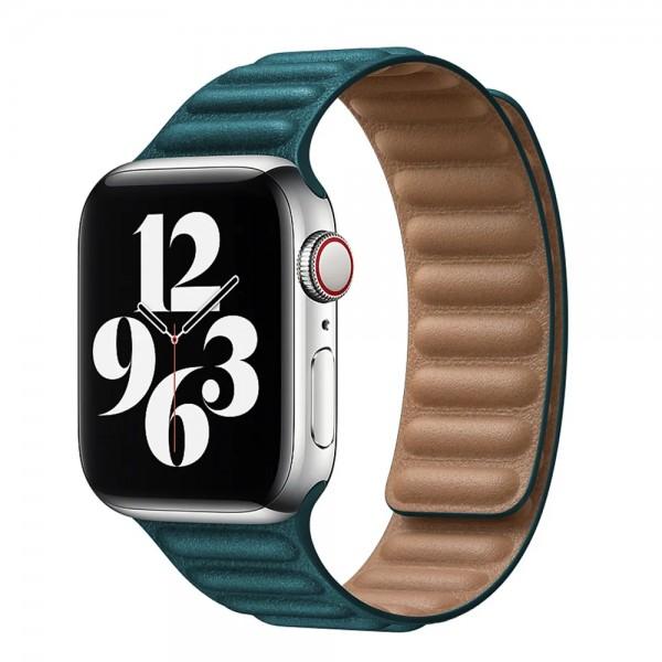 Ремешок кожаный New Apple Watch 42/44 мм на магнитной застежке темно-зеленый