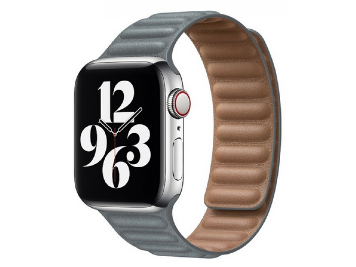 Ремешок кожаный New Apple Watch 42/44 мм на магнитной застежке серый в Тюмени