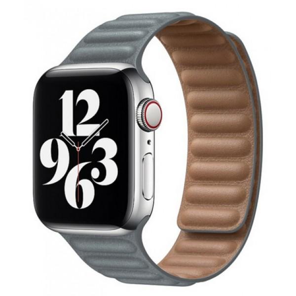 Ремешок кожаный New Apple Watch 42/44 мм на магнитной застежке серый