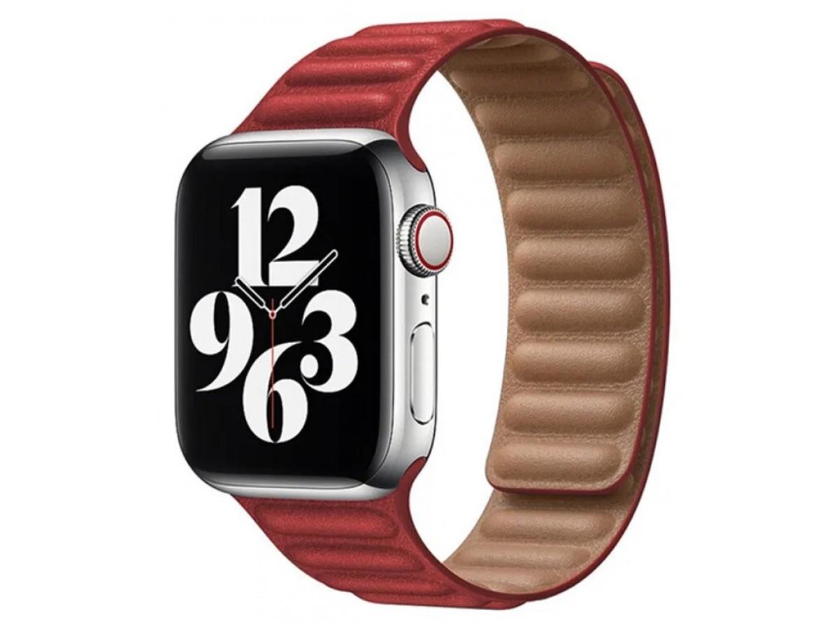 Ремешок кожаный New Apple Watch 42/44 мм на магнитной застежке красный в Тюмени