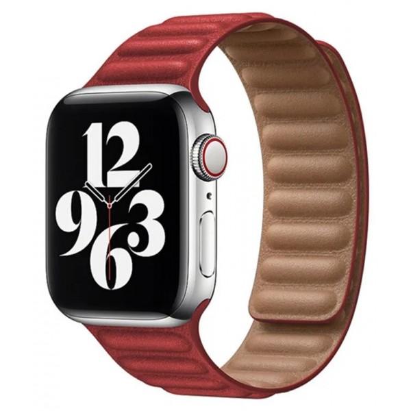 Ремешок кожаный New Apple Watch 42/44 мм на магнитной застежке красный