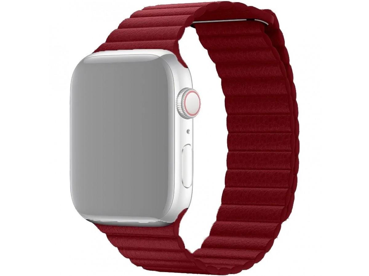 Ремешок кожаный Apple Watch 42/44 мм на магнитной застежке винный в Тюмени