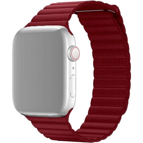 Ремешок кожаный Apple Watch 42/44 мм на магнитной застежке винный
