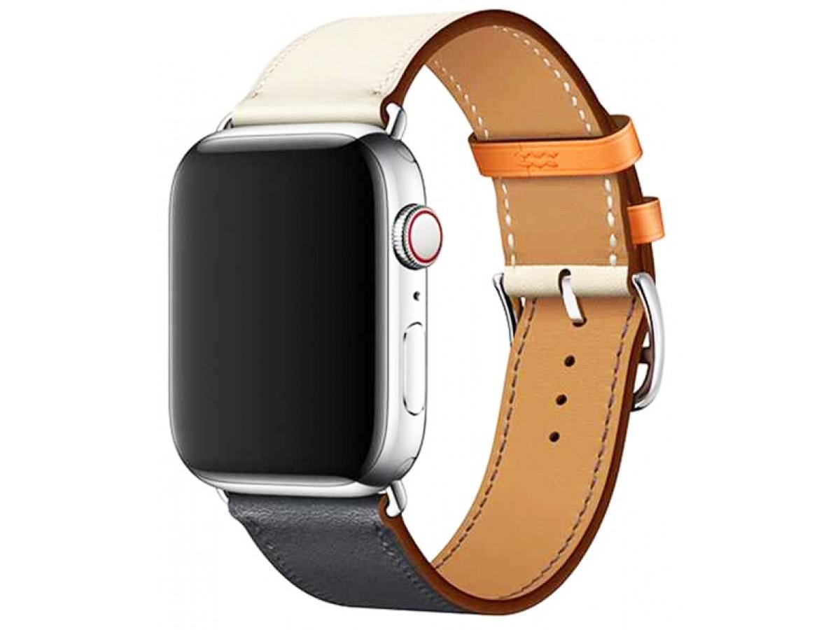 Ремешок кожаный Apple Watch 38/40 мм Genuine синий/белый в Тюмени