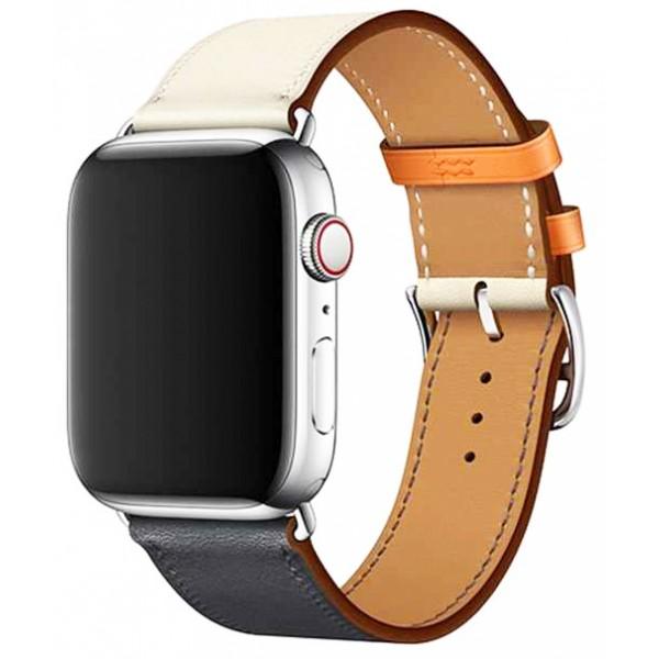 Ремешок кожаный Apple Watch 38/40 мм Genuine синий/белый