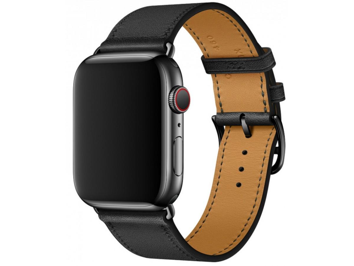 Ремешок кожаный Apple Watch 42/44 мм Genuine черный в Тюмени