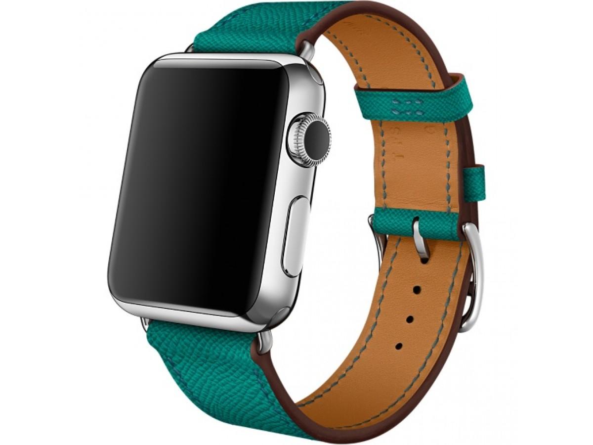 Ремешок кожаный Apple Watch 42/44 мм Genuine зеленый в Тюмени