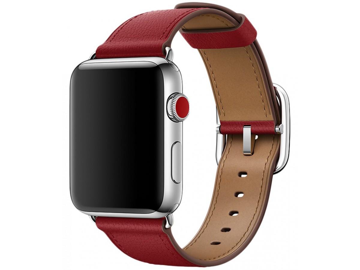 Ремешок кожаный Apple Watch 42/44 мм Genuine красный в Тюмени