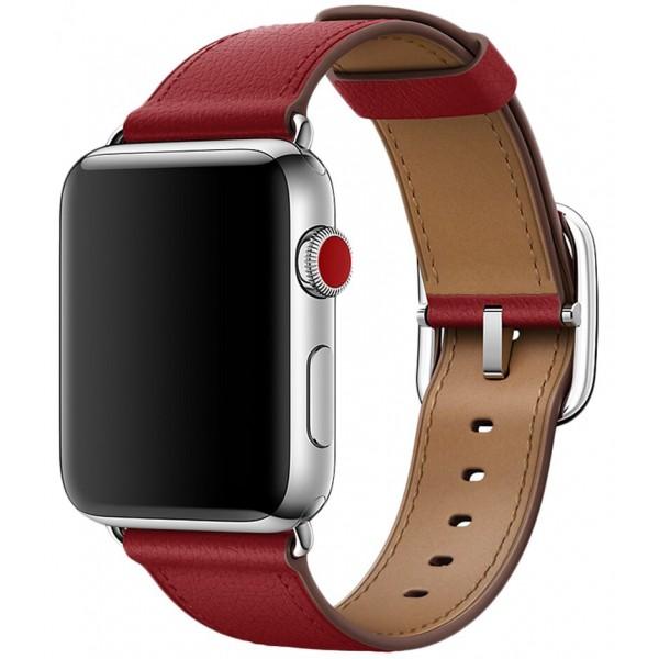 Ремешок кожаный Apple Watch 42/44 мм Genuine красный