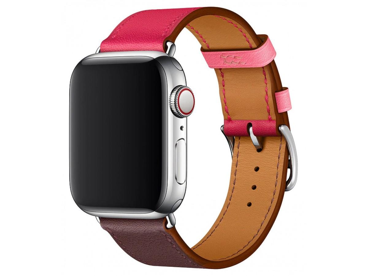 Ремешок кожаный Apple Watch 38/40 мм Genuine красный/коричневый в Тюмени