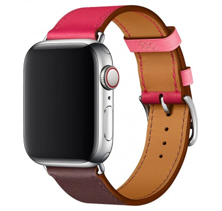 Ремешок кожаный Apple Watch 42/44 мм Genuine красный/ко...