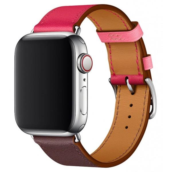 Ремешок кожаный Apple Watch 38/40 мм Genuine красный/коричневый