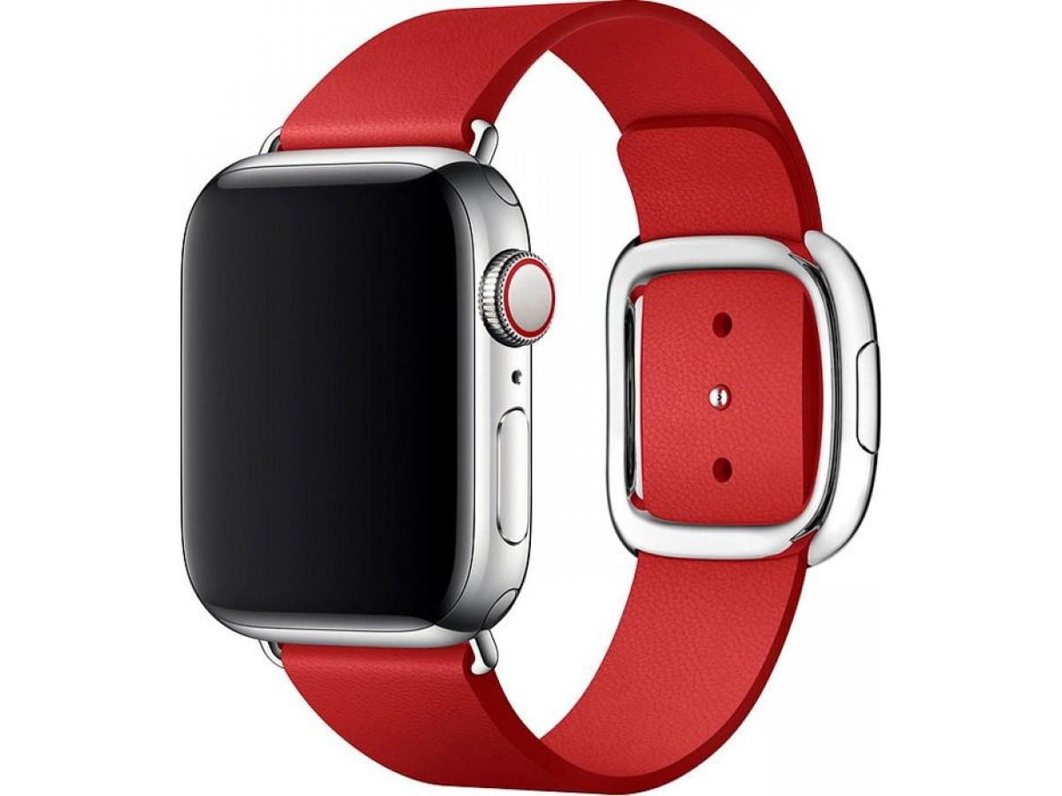 Ремешок кожаный Apple Watch 42/44мм Modern Buckle (красный) в Тюмени