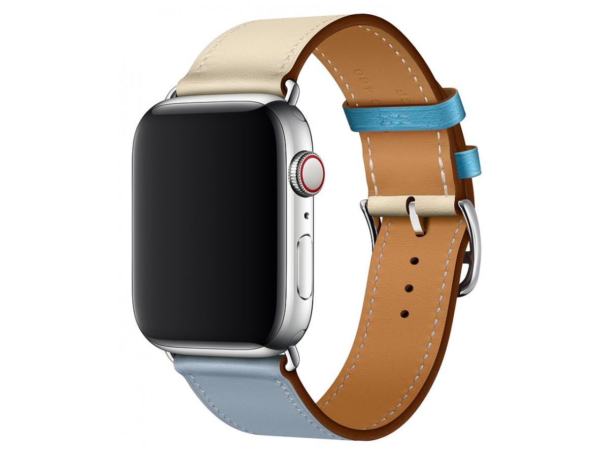 Ремешок кожаный Apple Watch 42/44 мм Genuine бежевый/голубой в Тюмени
