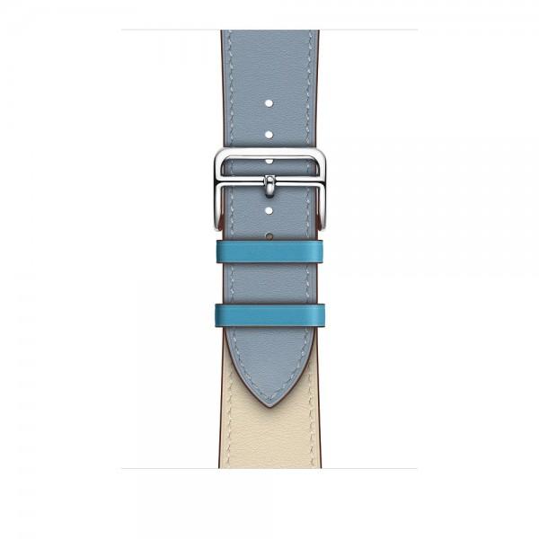 Ремешок кожаный Apple Watch 38/40 мм Genuine бежевый/голубой