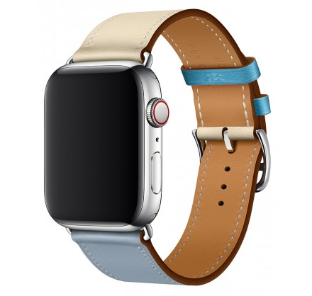 Ремешок кожаный Apple Watch 38/40 мм Genuine бежевый/го...