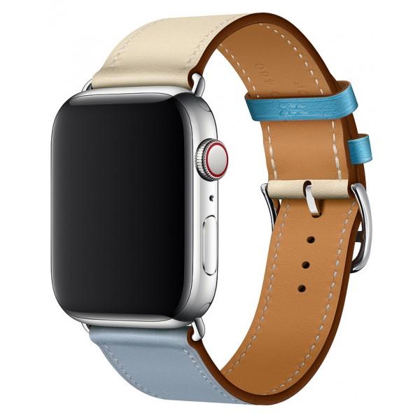 Ремешок кожаный Apple Watch 42/44 мм Genuine бежевый/голубой