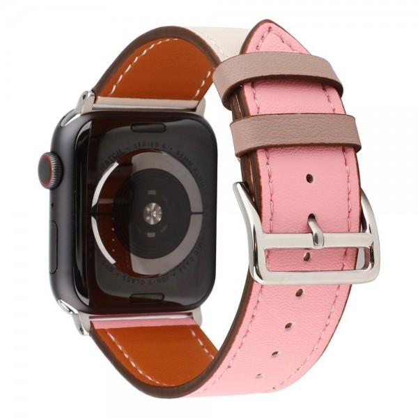 Ремешок кожаный Apple Watch 42/44 мм Genuine бежевый/розовый