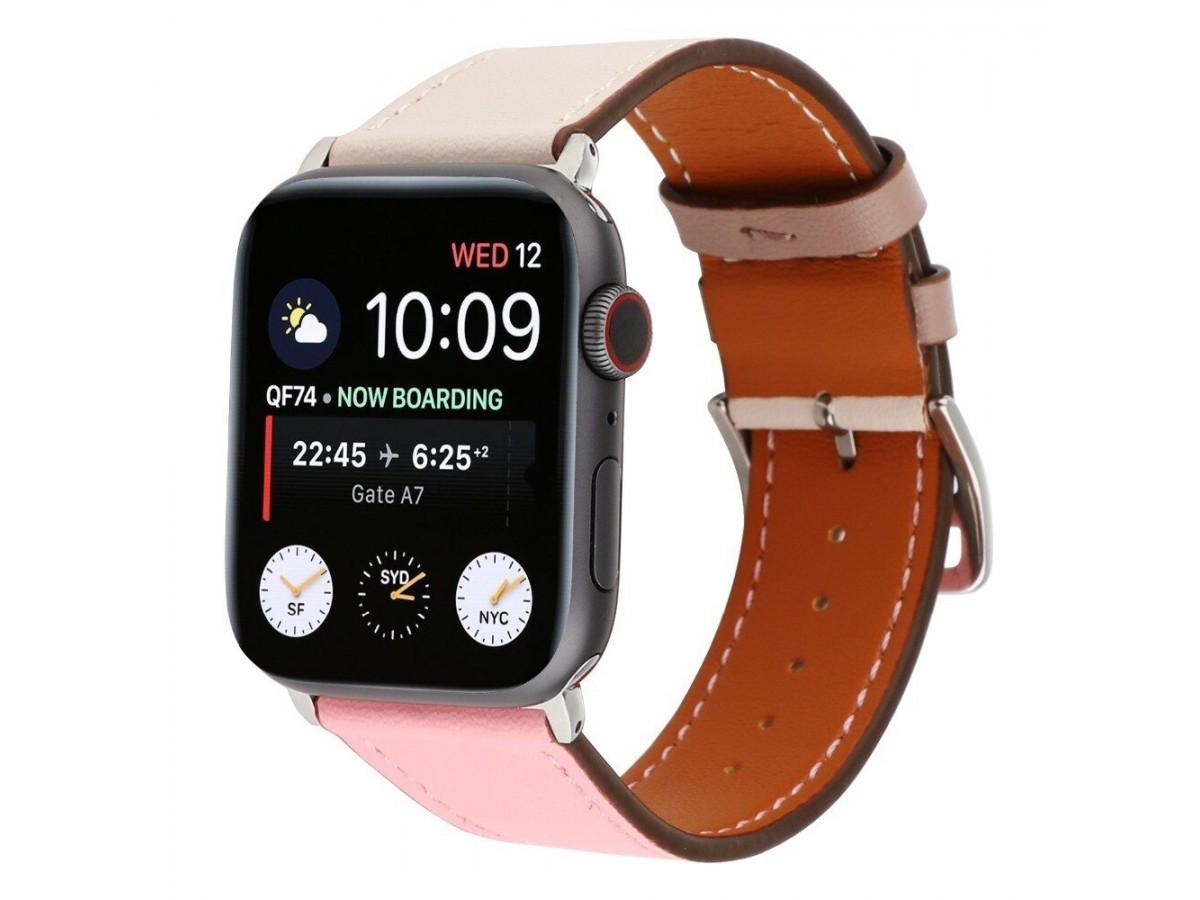 Ремешок кожаный Apple Watch 42/44 мм Genuine бежевый/розовый в Тюмени