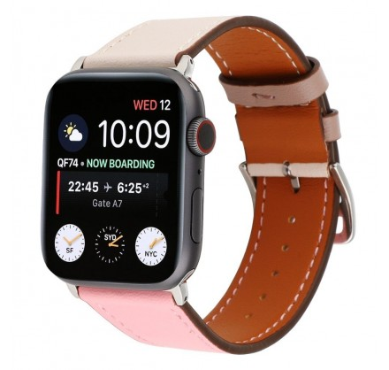 Ремешок кожаный Apple Watch 38/40 мм Genuine бежевый/ро...