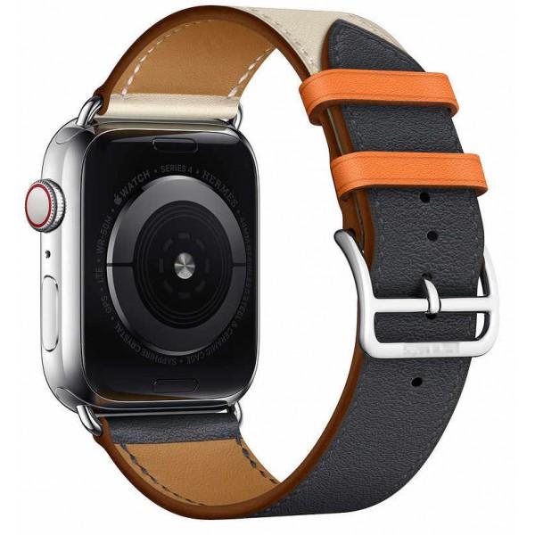 Ремешок кожаный Apple Watch 38/40 мм Genuine бежевый/синий