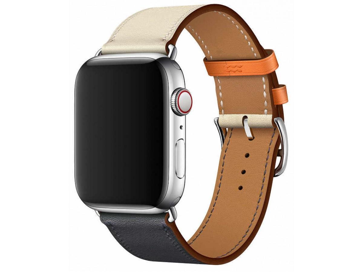Ремешок кожаный Apple Watch 38/40 мм Genuine бежевый/синий в Тюмени