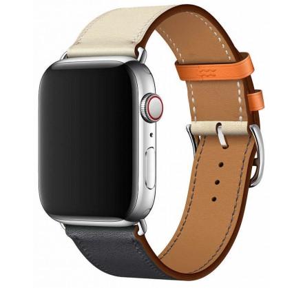 Ремешок кожаный Apple Watch 38/40 мм Genuine бежевый/си...