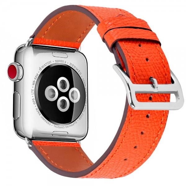 Ремешок кожаный Apple Watch 42/44 мм Genuine оранжевый