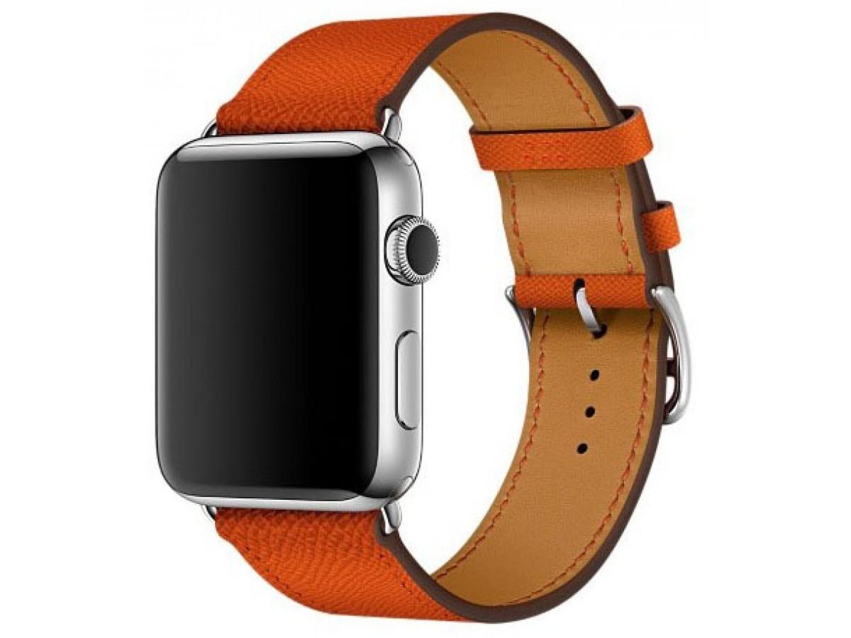 Ремешок кожаный Apple Watch 38/40 мм Genuine оранжевый в Тюмени