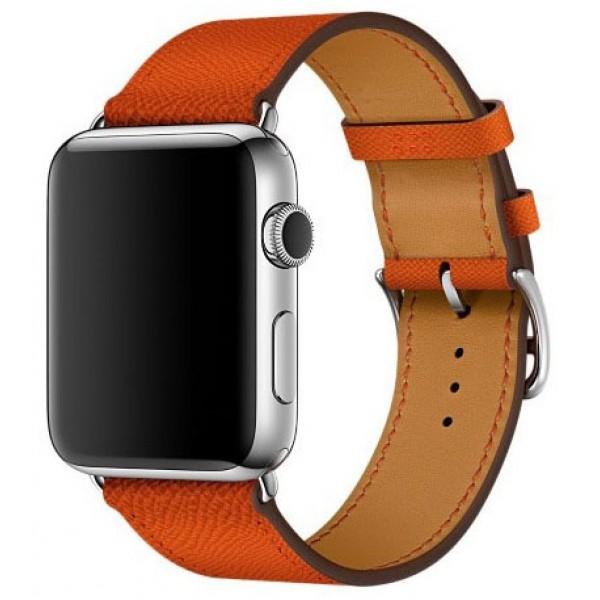 Ремешок кожаный Apple Watch 38/40 мм Genuine оранжевый