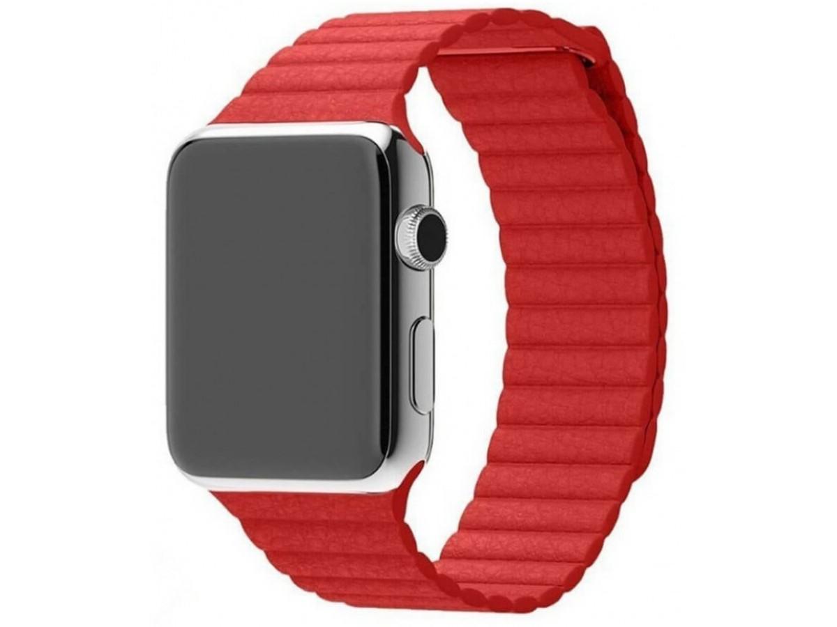 Ремешок кожаный Apple Watch 42/44 мм на магнитной застежке красный в Тюмени