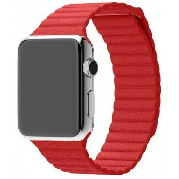 Ремешок кожаный Apple Watch 42/44 мм на магнитной застежке красный