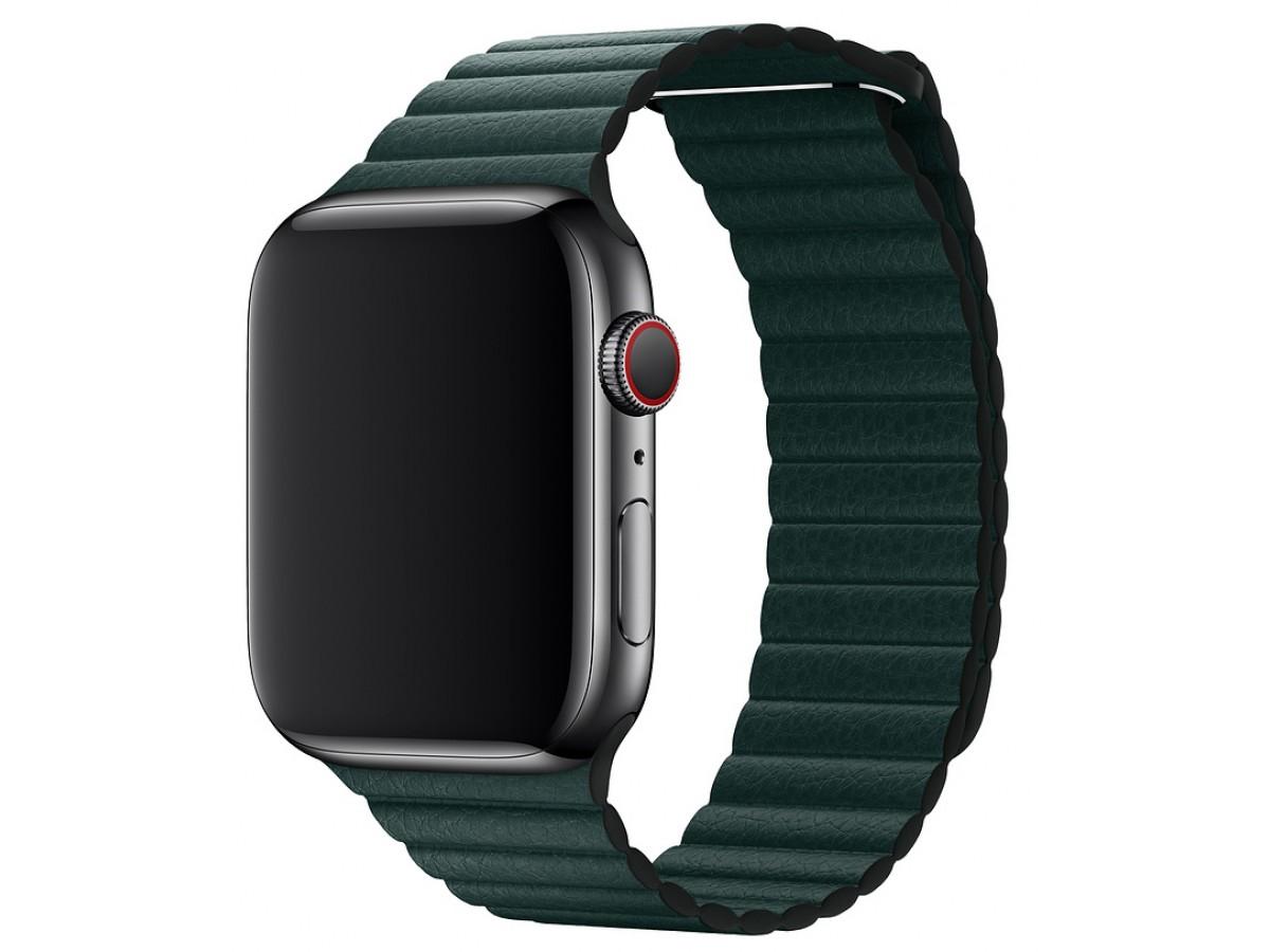 Ремешок кожаный Apple Watch 38/40 мм на магнитной застежке зеленый в Тюмени
