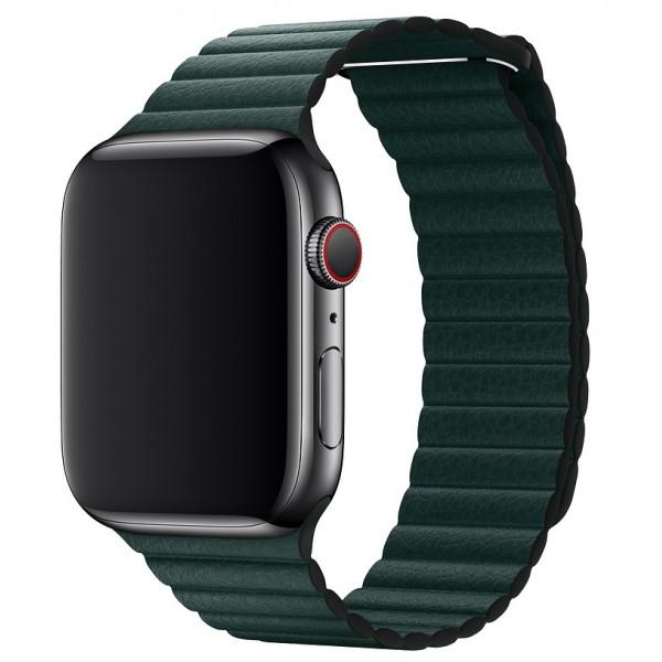 Ремешок кожаный Apple Watch 38/40 мм на магнитной застежке зеленый