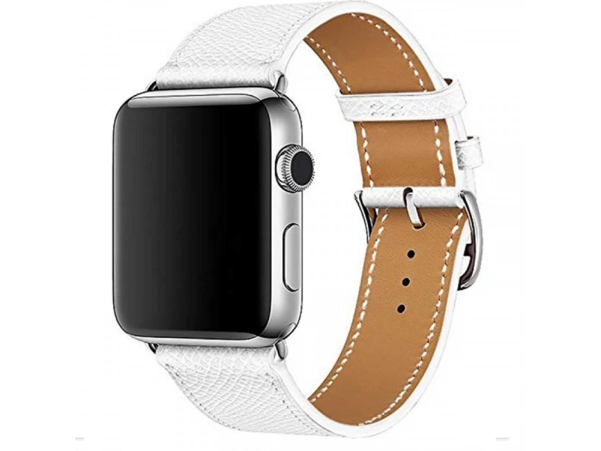 Ремешок кожаный Apple Watch 38/40 мм Genuine белый в Тюмени