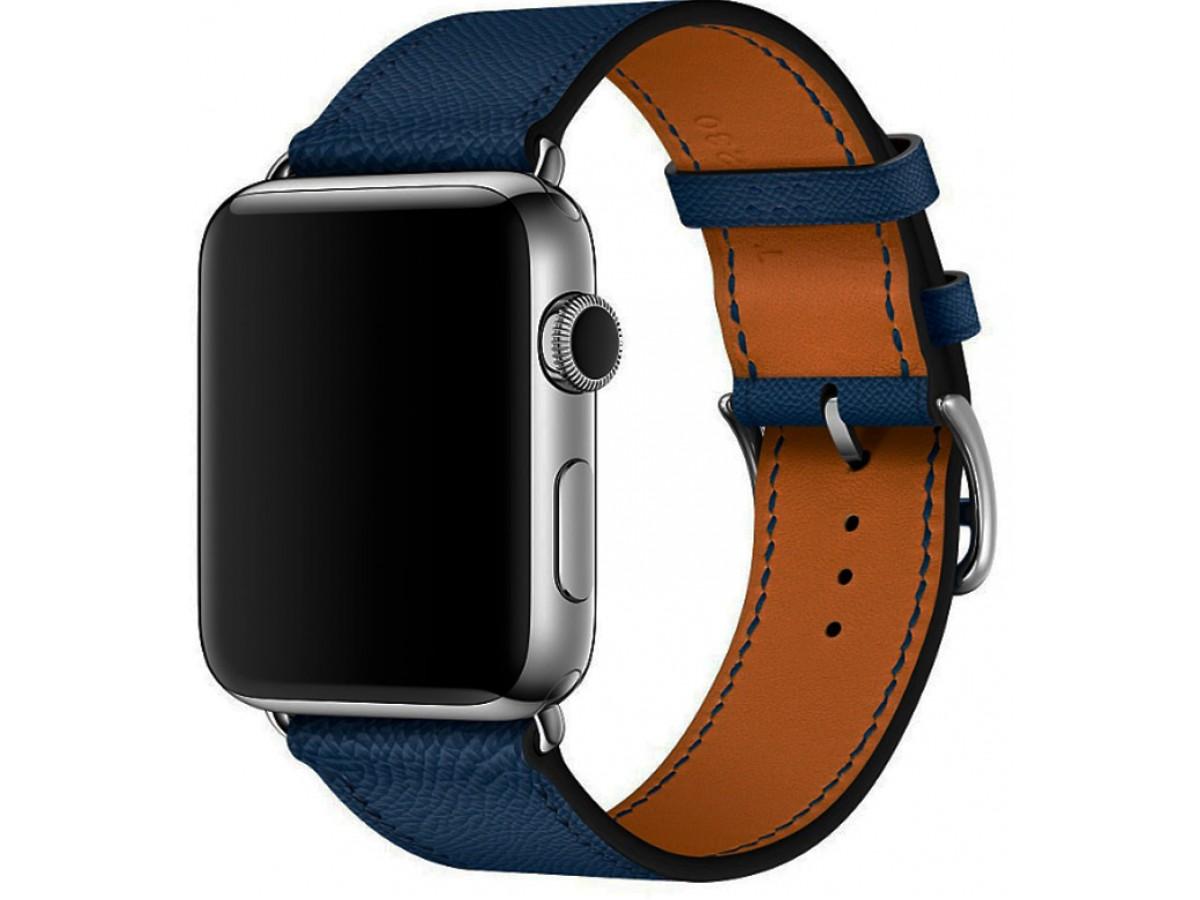 Ремешок кожаный Apple Watch 42/44 мм Genuine темно-синий в Тюмени