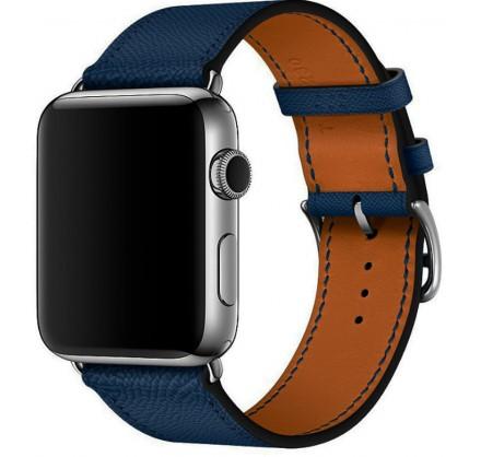 Ремешок кожаный Apple Watch 42/44 мм Genuine темно-сини...