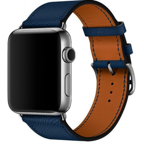 Ремешок кожаный Apple Watch 42/44 мм Genuine темно-синий