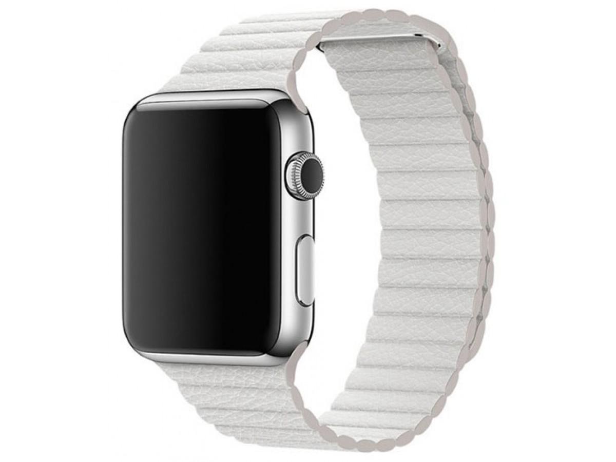 Ремешок кожаный Apple Watch 42/44 мм на магнитной застежке белый в Тюмени