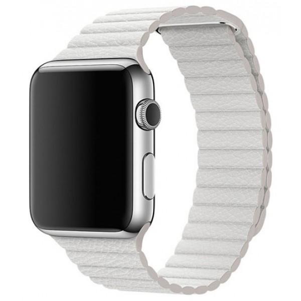 Ремешок кожаный Apple Watch 42/44 мм на магнитной застежке белый