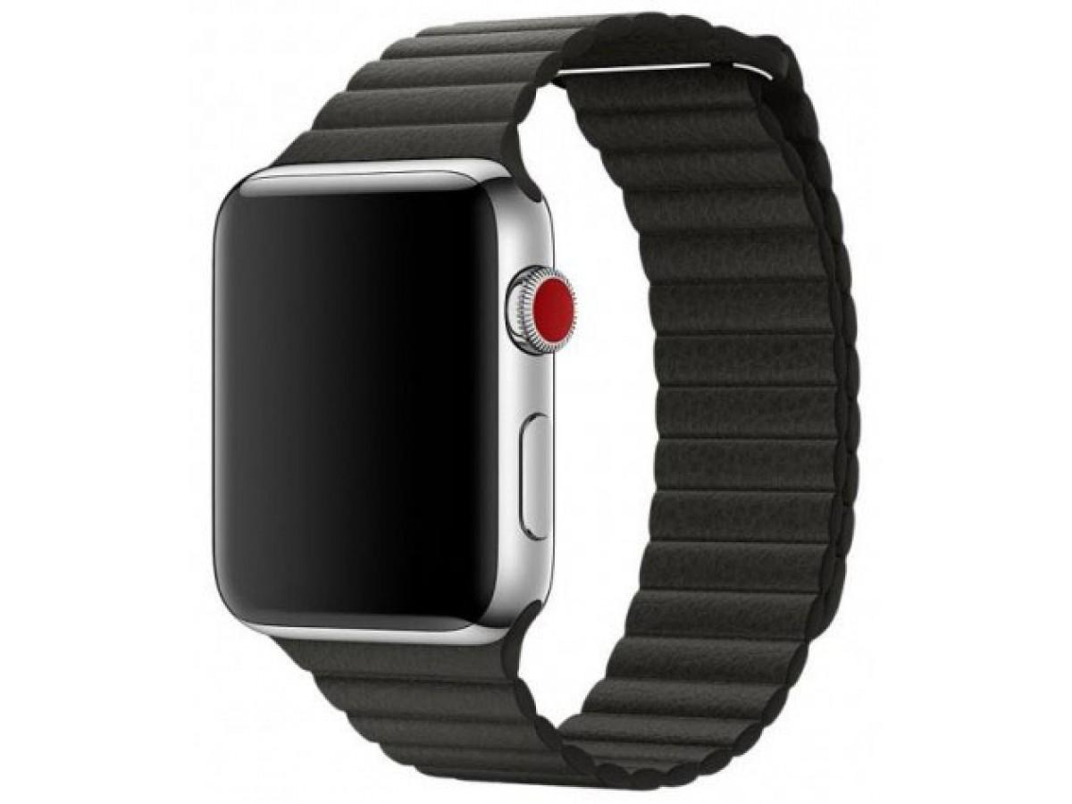 Ремешок кожаный Apple Watch 42/44 мм на магнитной застежке черный в Тюмени